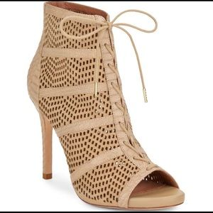 Joie Shari Perforated Suede Bootie Watersnake Trim